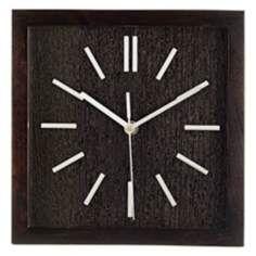 """Retro Espresso Black 9"""" Wide Square Wall Clock"""