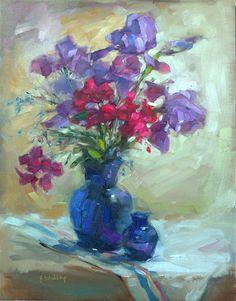 """Springs First Irises"" original fine art by Barbara Schilling"
