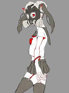 [スマホ・イラスト] Character Concept, Concept Art, Character Design, Anime Gas Mask, Cyberpunk, Manga Anime, Anime Art, Manga Girl, Goth Art