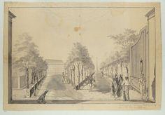 Jan Brandes | Tuin en oprijlaan van een landhuis bij Tandjong Priok, Jan Brandes, Johannes Rach, 1779 - 1785 | Siertuin gezien door de poort met op de voorgrond een Europees paar met slavin en pajungdrager. Met een Chinese drager en een kolfspeler en in het verschiet een gezelschap bij een soort obelisk met een ster op de punt.