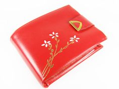 Vintage Wallet Red Leather and Daisy Design 60s In by MyChouChou, $36.00