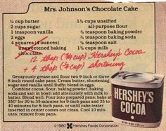 Here it is!!!!! Dying for Chocolate: Mrs Johnson's Chocolate Cake ~ Hershey's