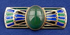 Egyptian Revival 14kt Gold, Enamel and Hardstone Brooch, c. 1940s | Sale Number 2391, Lot Number 47 | Skinner Auctioneers