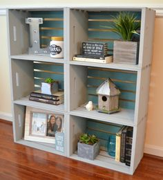 DIY Crate Bookcase - One Artsy Mama                                                                                                                                                                                 More