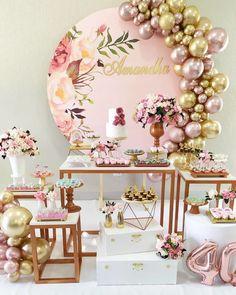 16th Birthday Decorations, Diy Birthday Banner, Balloon Decorations Party, Gold Birthday, Wedding Decorations, Fiesta Theme Party, Deco Floral, Gold Party, Birthday Pictures