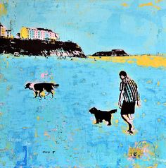Tenby Summer Dog Walk Tenby Summer Dog Walk 66.5cm x 66.5cm Summer Dog, Canvas Board, Silk Screen Printing, Dog Walking, Mixed Media Art, Fine Art, Gallery, Dogs, Artist