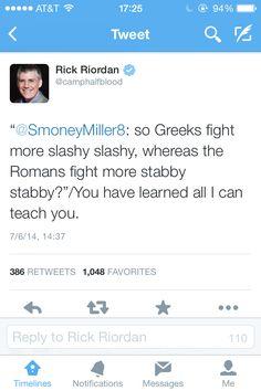 Rick Riordan is hilarious! #percyjackson #greeks #romans