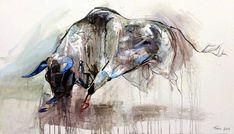 Dragan Petrovic Pavle, Bull, Oil on canvas, 127x73cm, £1850