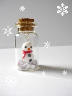 Snowman in mini glass bottle, whimsical polymer clay miniature - UK seller