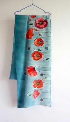 Poppy silk scarf Hand painted silk shawl Gray scarf Red poppies scarves Summer scarves Handpainted Flowers shawl Women scarves gift for mom Saree Painting, Fabric Painting, Painting Flowers, Hand Painted Sarees, Fabric Paint Designs, Silk Art, Painted Clothes, Silk Shawl, How To Dye Fabric