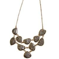 Druzy bib Necklace in Hematite on sale now at 9thandelm.com! #handmade #9thandelm #stone