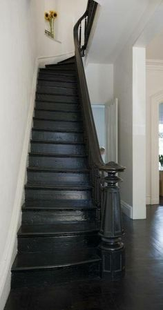black painted floors… And could we remove hall wall to get a look a little like this? Painted Staircases, Painted Stairs, Basement Stairs, House Stairs, Wood Stairs, Black Staircase, Painted Wood Floors, Open Stairs, Staircase Makeover