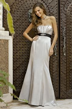 Ice silver satin mermaid dress with pleated bust and band at waist adorned with rhinestones on center.