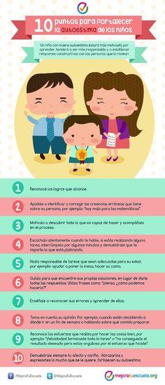 """Hola: Compartimos una infografía sobre """"Autoestima en los Niños - 10 Acciones para Fortalecerla"""". Un gran saludo.  Elaboración: mejoratuescuela.org  Enlaces de interés: Como Estimular l..."""