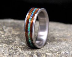 Koa with Sleeping Beauty Turquoise Inlay Titanium by HolzRingShop