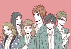 The girls with the light brown hair and pigtails remind me of anime characters I created Orange Anime, Kakeru Naruse, Takano Ichigo, Anime Friendship, Friendship Group, Fanart, Anime Artwork, Noragami, Anime Couples