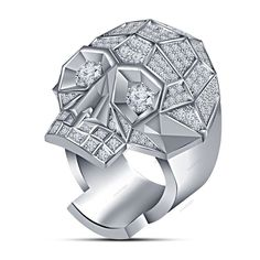 14K White Gold Finish Round Simulated Diamond Halloween Men's Biker Skull Ring #aonedesigns #MensBikerSkullRing