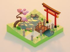 Low Poly - Spring in Japan designed by Brian Moon 🌙. Connect with them on Dribbble; the global community for designers and creative professionals. Modelos Low Poly, Modelos 3d, Isometric Art, Isometric Design, Low Poly Games, Low Poly 3d Models, Japan Design, 3d Artwork, Environment Concept Art