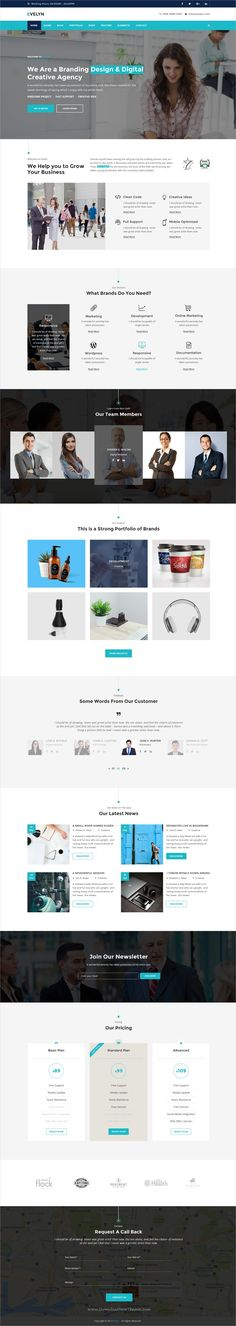 Evelyn is clean and modern design multipurpose #PSD template for business #agencies website with 25 layered PSD files download now >