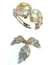 Show Stopping Huge Pastel Rhinestone Vintage Clamper Bracelet and Earrings