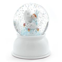 Lampe veilleuse boule neigeuse paillettes loup blanc D11xH14cm CELESTE Little Big Room port offert