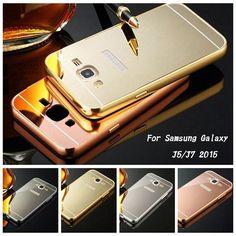For Samsung Galaxy J5 J7 2015 J500 J700 Case Aluminum Metal Frame + Slim Mirror Acrylic Back Cover Phone Bags Cases Fundas Shell