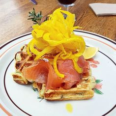 Brunch part two houseblend butter waffles with dill partnered with Tasmanian smoked salmon topped with pickled fennel and labne. Good way to start today. by elyaeusoff http://ift.tt/1KosRIg