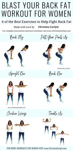 The best back Exercises with dumbbells for women that really work. Together these back exercises make a quick and easy Workout you can do at home or the gym. It's perfect for beginners and busy women that want to get rid of back fat. Good Back Workouts, Back Fat Workout, At Home Workout Plan, Back Workouts With Dumbbells, Exercise Back Fat, Gym Workouts For Women, Exercise At Home, Back Workout Women, Arm Workouts At Home