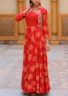 Red Cotton Tunic #Shop #Now #Tunics #Anarkalis #By #Vasansi #Jaipur