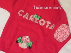 Sudadera para niña en rojo, personalizada con nombre y muñeca.