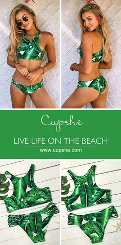 Catch the modern vibe. You're yearning to stand out from the crowd in this unique leaves printing bikini set. Cupshe.com will give you a gorgeous look!