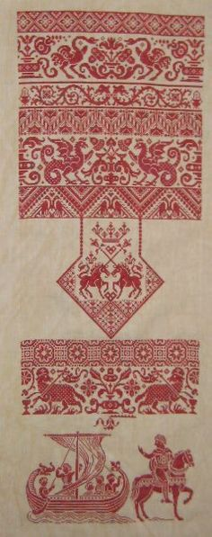 I wonder what it's like to just stitch RED. I like these motifs.  Love the knight at the bottom.