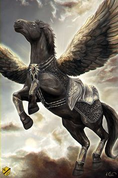 The 23 rd Air Armored Calvary fly mithril clad Pegasus used for tactical support, interdiction, supply and air to air combat. They are the of Elflandea. Mythical Creatures Art, Mythological Creatures, Magical Creatures, Pegasus, Fantasy Beasts, Fantasy Art, Fantasy World, Yuumei Art, Winged Horse