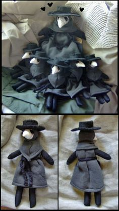 I made 5 mini Plague Doctor dolls and they're up for sale on my etsy shop. Proud Parent Doll Crafts, Cute Crafts, Sewing Crafts, Sewing Projects, Plushie Patterns, Softie Pattern, Sewing Stuffed Animals, Kawaii Plush, Plague Doctor