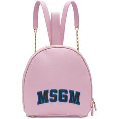 MSGM Pink Logo Backpack ($645) ❤ liked on Polyvore featuring bags, backpacks, pink, pink rucksack, studded backpack, leather daypack, pink leather backpack and leather bags