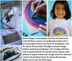 t-shirt drawing craft Fun Crafts For Kids, Activities For Kids, Simple Crafts, Diy Crayons, Make Your Own Shirt, Shirt Drawing, Different Types Of Fabric, Sandpaper, Craft Club