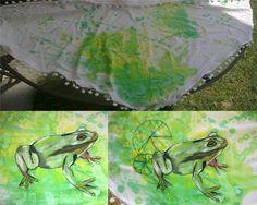Šátek žába (barva na textil+vyšívka)