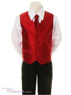 For the boys Red Ring Bearer Vest 4 set