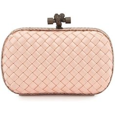 Bottega Veneta Woven Satin Knot Minaudiere ($1,630) ❤ liked on Polyvore featuring bags, handbags, clutches, bolsas, pink, bottega veneta, round handbags, satin handbags, clasp handbag and satin purse