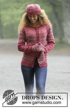 Rosendal / DROPS - The set consists of: Knitted jacket with round yoke and multi-coloured Norwegian pattern, worked top down. Sizes S - XXXL. Hat and mittens with multi-coloured Norwegian pattern. The set is worked in DROPS Merino Extra Fine. Ladies Cardigan Knitting Patterns, Fair Isle Knitting Patterns, Knitting Machine Patterns, Jumper Patterns, Mittens Pattern, Knitting Designs, Knit Patterns, Tejido Fair Isle, Punto Fair Isle