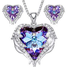 GIRLFRIEND LARGE BLUE CRYSTAL HEART NECKLACE LUXURY BOX GIFT VALENTINES DAY CARD