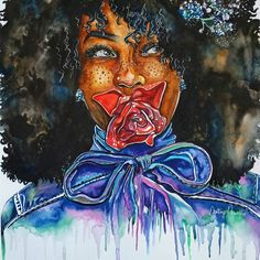 Afro Art Afros and Roses Black by poeticallyillustrate on Etsy