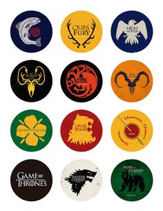 This listing is for a printable jpg. file of Game of thrones. You can print as many as you want at home or any photo finisher. You will get two 8.5 x 11 file with 12 2 inch circles. You will not get any physical product or Printed material. You can print them as stickers, all kind of cardboards or papers. You can use them as Stickers, Cupcake Toppers, to close your Party Favor Bags, Tags, or any other use you can think of. The files are jpg high resolution so they will print out beauti...