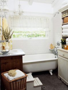 """To ensure that the bathroom was waterproof, mudproof, and kid-proof, the homeowners choose subway tile wainscoting for the walls. The bath includes a handheld showerhead and a drain built into the slate floor. The white walls, window above the bathtub visually open the room.""  Drain in floor? Don't need shower curtain but not with radiant heat? No rug but slipping?"