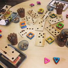 """Loose Parts Table Provocation! I love combining unlikely building components to challenge students…"""""""