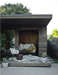 Backyard Sheds to be Inspired By - our backyard office update? Backyard Sheds to be Inspired By - ou Garden Spaces, Amazing Spaces, Shed Colours, Outside Living, Outdoor Rooms, Backyard Office, Garden Studio, Summer House, Small House