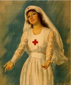 Vintage WWI era Red Cross poster, ca. 1910s.