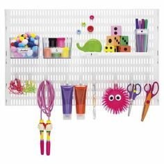 Buy the Elfa Craft Storing Board - Platinum from Elfa today! A part of our Elfa Craft Storage Solutions range. Clothes Rod, Clothes Drying Racks, Craft Storage Solutions, Craft Room Storage, Storage Ideas, Basket Labels, Tool Board, Hallway Designs, Basket Shelves