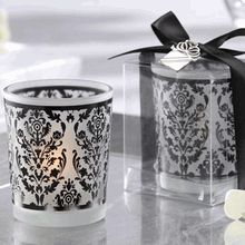 Damask Traditions Frosted Glass Tea Light Holder With Charm Baby Shower Favors