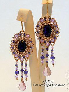 """Купить Серьги """"Purple Velvet """" - фиолетовый, cthmub, Кристаллы swarovski, Сваровски, японский бисер"""
